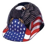 Fibre-Metal® E2RW00A006 SUPEREIGHT® Class E, G or C Type I Thermoplastic Hard Hat With 3-R Ratchet Suspension And Spirit Of America Graphic