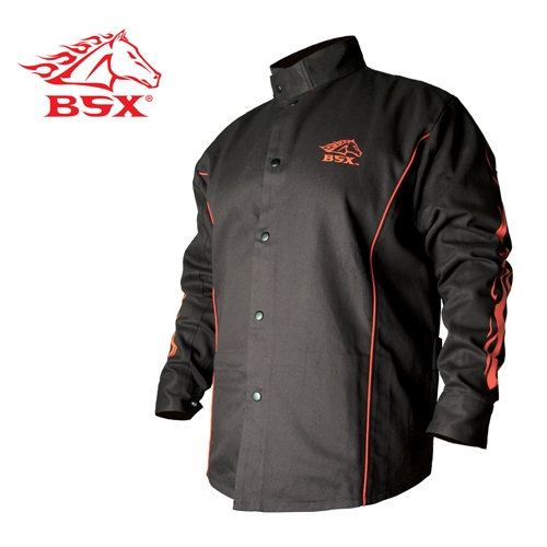 Revco Bx9c Bsx 174 Fr Welding Jacket Black W Red Flames