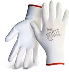 BOSS GLOVES # 1PU2500 WHITE SHADOW™ PALM DIP NON-SLIP W COLOR CODED HEM 12 Pairs