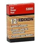 Dixon 520 Lumber Crayons- Red Color 12 Pcs. ( Made in USA )