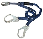 "FALLTECH  # 8240Y3A ElasTech /AlumiTech 6' ShockAbsorbing Lanyard. 4 1/2' to 6'; Adjustable ""Y""-Leg for 100% Tie-off; With 1 Aluminum Snap Hook and 2 Aluminum Rebar Hooks."
