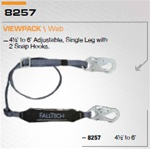 FALLTECH 8257 ClearPack Adjustable Shock Absorbing Lanyard.Length 4 1/2'  to  6'