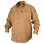 Black Stallion FS7-KHK Flame-Resistant Cotton Work Shirt