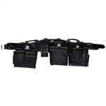 Gatorback # 145 Carpenter's Triple Tool Belt Combo With Pro-Comfort Back Support Belt. Color - Black