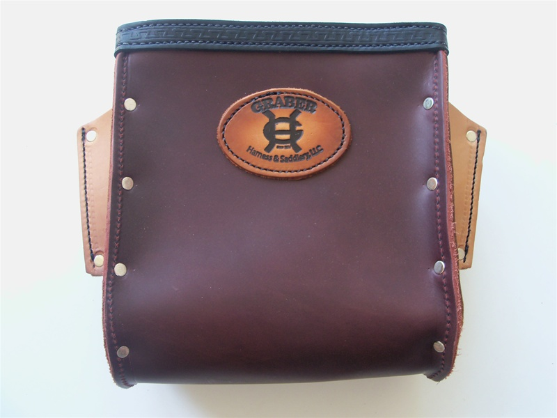 Graber Harness 0010 Heavy Duty Leather Bolt Bag Color Dark Brown Made In U S A