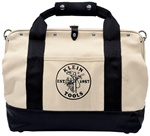 "Klein 5003-18 18"" Pocket Canvas Tool Bag – with Leather Bottom"