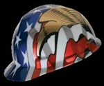 MSA V-GARD HARD CAP WITH FAS TRACK SUSPENSION AND AMERICAN FLAG WITH  2 EAGLES