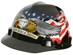 MSA 10079479 V-GARD HARD CAP WITH FAS -TRAC SUSPENSION AND AMERICAN FLAG WITH 2 EAGLES