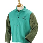 "REVCO F9-30C-GS BLACK STALLION  F9-30C-GS  Hybrid 9 oz. FR and Cowhide Welding Coat - 30"" Green/Green"