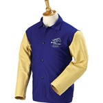 "REVCO RFB9-30C-PS BLACK STALLION FRB9-30C-PS   Hybrid 9 oz. FR and Grain Pigskin Welding Coat - 30"" Royal Blue/Tan"