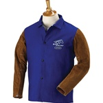 "REVCO FRB9-30C-BS BLACK STALLION FRB9-30C-BS  Hybrid 9 oz. FR and Cowhide Welding Coat - 30"" Royal Blue/Brown ******* Best Seller *******"